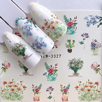 Nail Stickers Black Cartoon Animal Flamingo Fox Hollow Designs Sliders For Nail
