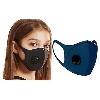 3x Face Mask with breathing valve, Marine Blue Washable Mouth Guard