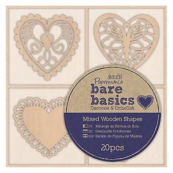 Papermania Bare Basics Wooden Shapes Filigree Hearts (20pcs) (PMA 174694)