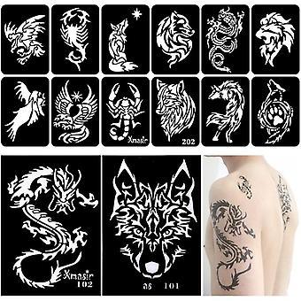 Dragon Tattoo Stencils Maleri Skabelon Arm Tilbage Chest Airbrush Glitter Tattoo