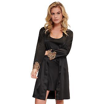 LingaDore Black Tămâie 5504KM-261 Femeiăs Negru & Bej Dantela Kimono
