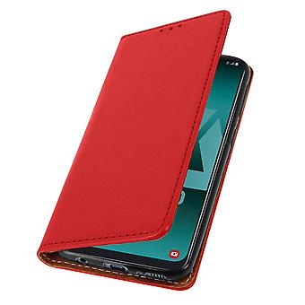 Case for Galaxy A50 / A30s made with Genuine Leather, video function - red