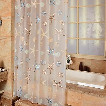 Cortina de chuveiro moderno Estrela-do-mar Partição Fresco Litoral Estilo À prova de água Peva Cortina para banheiro chuveiro