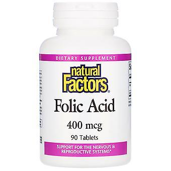 Natural Factors, Folic Acid, 400 mcg, 90 Tablets