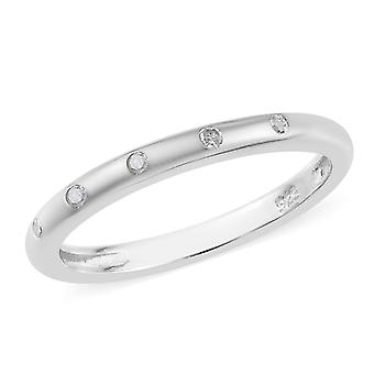 Band White Diamond Ring for Women Sterling Silver Platinum Plated TJC