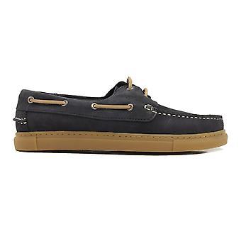 Barker Henri Navy Nubuck Leather Mens Deck Shoes