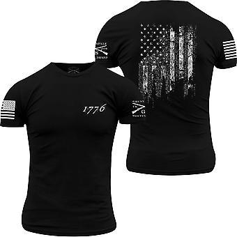 Grunzen Sie Stil 1776 Flagge Rundhals T-Shirt-schwarz