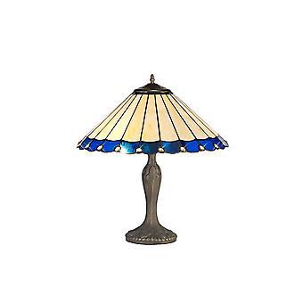 Luminosa-valaistus - 2 kevyt kaareva pöytävalaisin E27 40cm Tiffany Shadella, Sininen, Kristalli, Ikääntynyt antiikki messinki