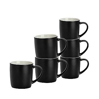 6 Piece Matt Tea and Coffee Mug Set - Modern Style Porcelain Cappuccino Latte Mugs - Black - 350ml