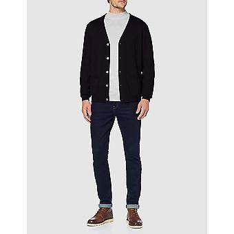 Essentials Men's Standard Cotton Cardigan, Black, Medium