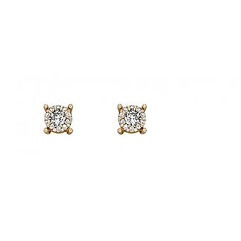 Elements Gold 9ct Yellow Gold Solitare Cluster Earrings GE2289