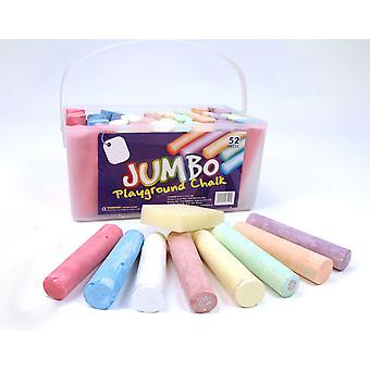 52 Coloured Jumbo Playground Chalks for Kids