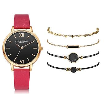 Watch Set For Woman, Quartz Wristwatch, Leather Ladies Bracelet, Luxury, Casual