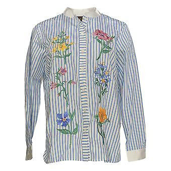 Bob Mackie Women's Striped Embroidered Button Front Shirt Blue A303013