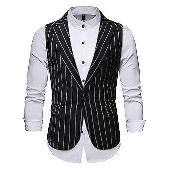 YANGFAN Men's Striped One Button Suit Vest Casual Waistcoat