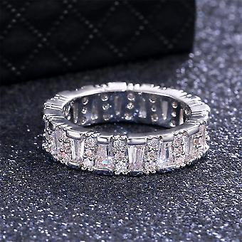 Käsintehty 925 hopea päällystetty rengas zirkon naisten timantti