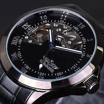 4805 Military Style Men Wrist Watch Stainless Steel Strap Self-Wind Mechanical