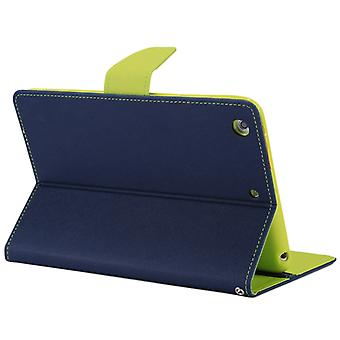 MERCURY GOOSPERY FANCY DIARY for iPad mini 3 / 2 Cross Texture Leather Case with Card Slot & Holder & Wallet(Navy Blue)