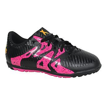 Adidas X 15.3 Junior Lace Up Black Pink Football Trainers Boots AQ5796 B79C
