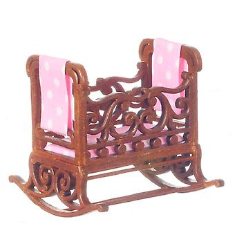 Dolls House Fine Miniature Nursery Furniture Walnut Windsor Rocking Cradle Crib