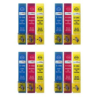 4 Set of 3 Ink Cartridges to replace Epson T1295 C/M/Y Compatible/non-OEM from Go Inks (12 Inks)
