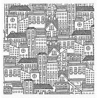 """My Favorite Things Background Cling Rubber Stamp 6""""X6"""" - City Block"""