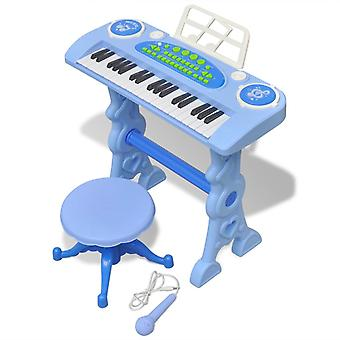 Kids Keyboard Toy Piano with Stool/Microphone 37 Keys Blue