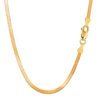 14 k gul Solid Gold Imperial sildeben kæde halskæde, 4,0 mm
