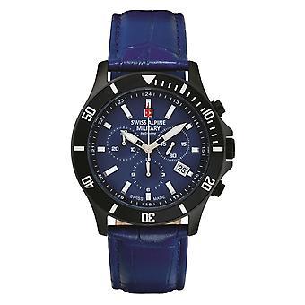 Relógio Militar Alpino Suíço Cronógrafo De Quartzo Analógico 7022.9575SAM Couro