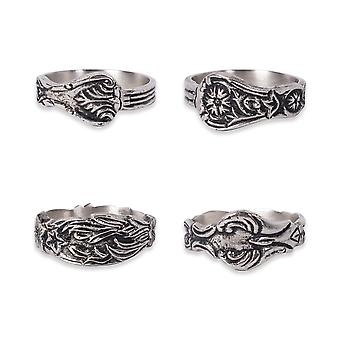 Dii Assorted Silver Spoon Napkin Ring (Set Of 4)