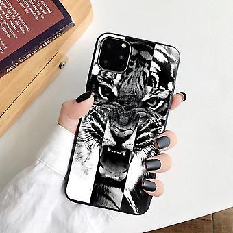 iPhone 12 és 12 Pro héj tigris fekete fehér szilikon
