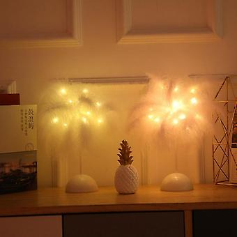 Led Romantic Feather Table Lamp, Battery Power Warm Light Tree Party Home Decor