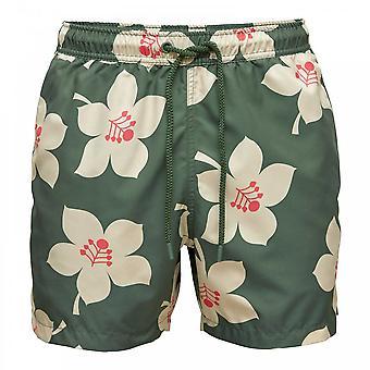 Bjorn Borg Sylvester Loose Swim Shorts, Graphic Floral Duck Green, Medium