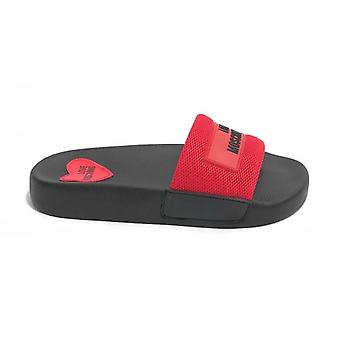Women's Shoes Love Moschino Black Rubber Slipper / Red Fabric Ds20mo19