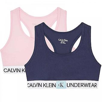Calvin Klein Girls 2 Pack CK Minigram Bralette, Unique/Black Iris, 14-16 Years