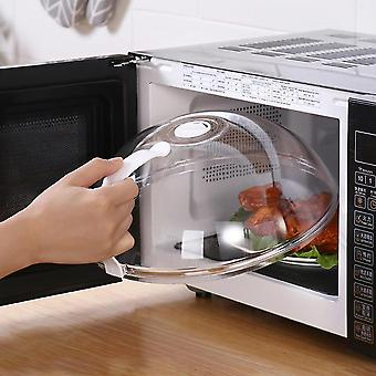 Professional heat resistant microwave anti-sputtering food cover with handle