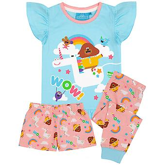 Cbeebies Hey Duggee Pyjamas For Girls | Blue Pink Unicorn Characters PJs With Long Or Short Bottoms | Childrens Frill T-Shirt & Trousers Merchandise