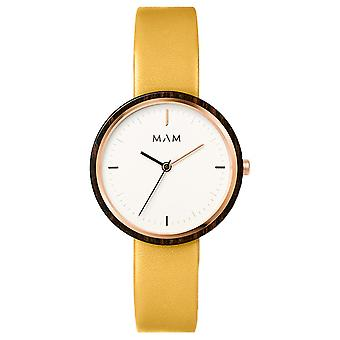 Mam Flat Watches Watch for Women Analog Quartz with Cowhide Bracelet 662