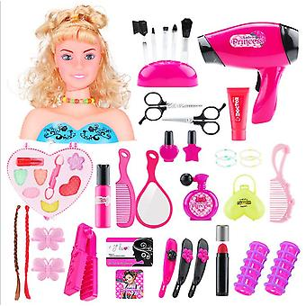 Doll Hairstyle Dress Up Girl Makeup Toy Set 48pcs