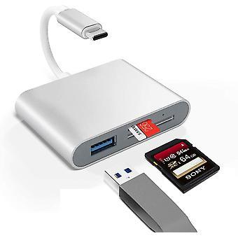 FengChun SD Kartenleser USB C, 3 in 1 USB C zu SD/Micro SD Kartenlesegert Adapter fr MacBook Pro,