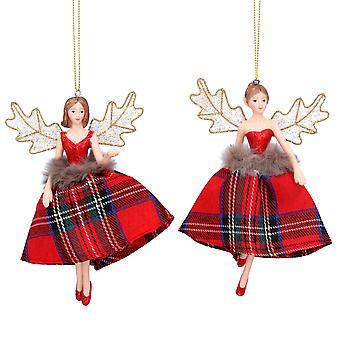 Gisela Graham Tartan Fairy Christmas Decoration