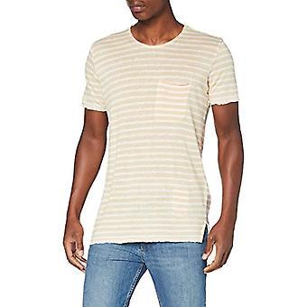 Herrlicher Ronny Linen Striped T-Shirt, Dirty White 61, S Man
