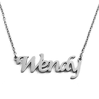Wendy - Necklace with custom name in 18 carat silver, with name-shaped pendant, for woman, girlfriend, mother, Ref. 4993933191531
