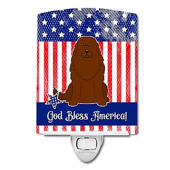 Caroline s Schätze patriotischen Usa Kaukasier Schäferhund Hund Keramik Nachtlicht, 6 x 4, mehrfarbig