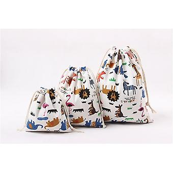 Cute Printed Drawstring Bag, Zoo Animals Canvas -bag