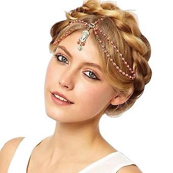 Hair Decoration Head Band White/Red Beaded Piece - FRG