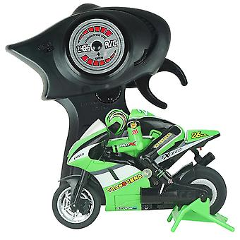 Electric Mini RC Motorcycle Radio Controlled 2.4GHz Racing Motorbike Children Toy Boys Adults(Green)