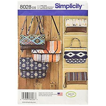 Simplicité Couture Modèle 8028 Embrayage Poignet sac à main deux tailles