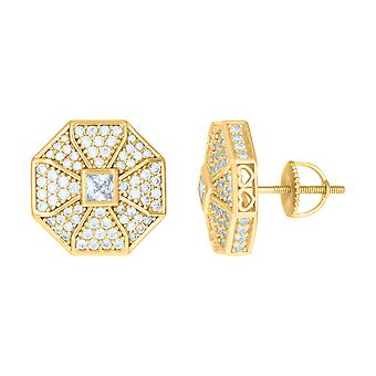 925 Sterling Silver Yellow tone Mens Princess cut Cubic zirconia Octagon Fashion Stud Earrings Jewelry Gifts for Men