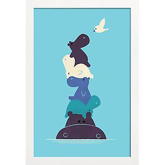 JUNIQE Print - Birdie - Flodhästaffisch i blått
